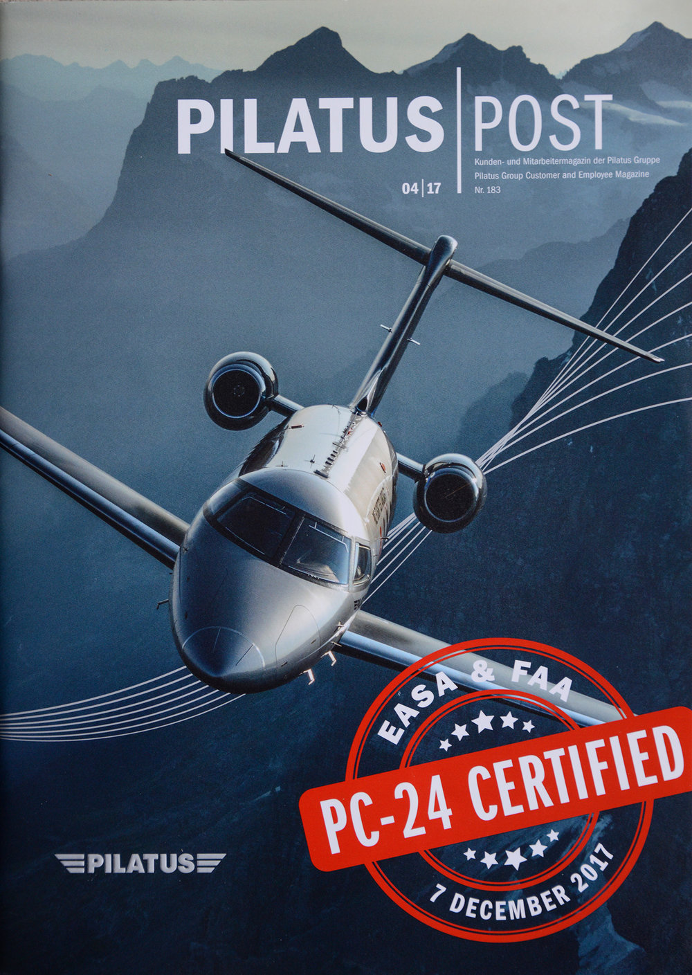 Cover of Pilatus Post 04/2017. Shot over the Swiss Alps from a Shorts Skyvan flown by Philip Artweger.