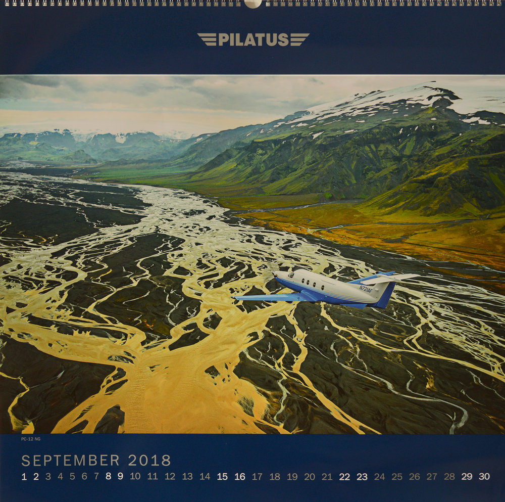 Calendar for Sept 2018, over Iceland. Shot from an AS350 helicopter from Reykjavik Helicopters.