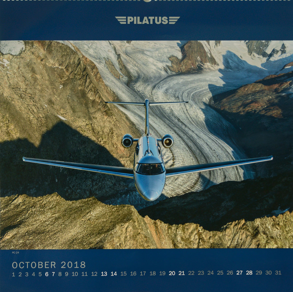 Pilatus Calendar, Oct 2018. Shot from a Shorts Skyvan flown by Philip Artweger.