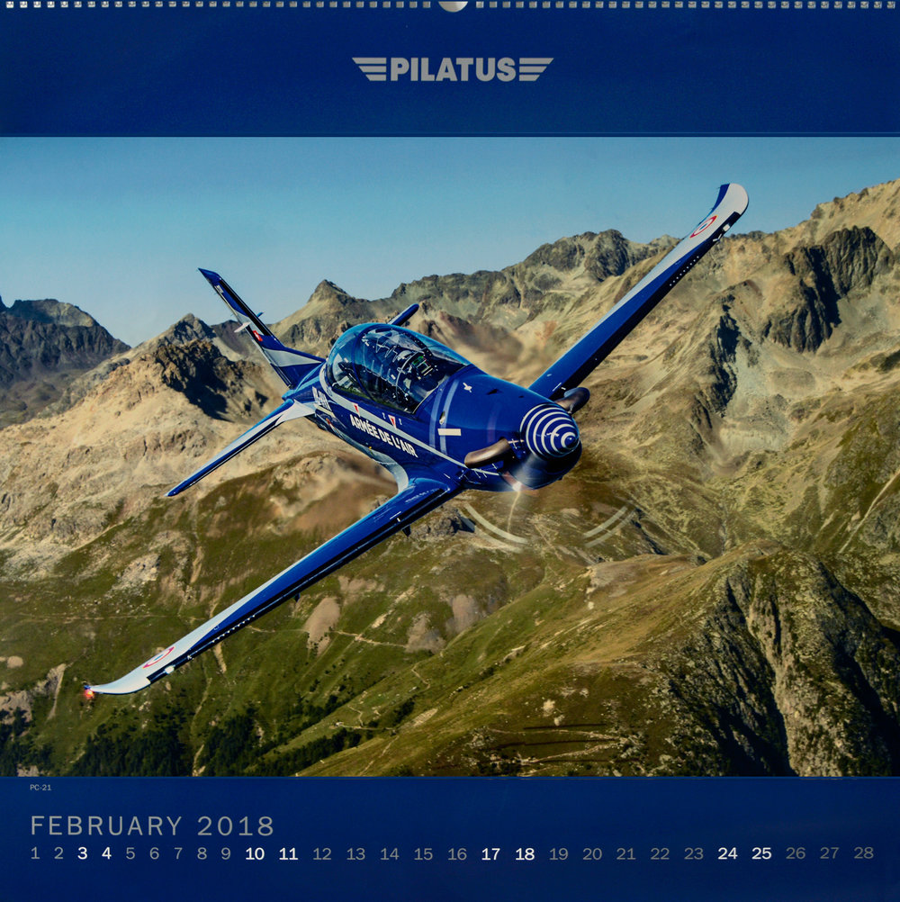 Pilatus Calendar, Feb 2018. Shot from a Shorts Skyvan flown by Philip Artweger.