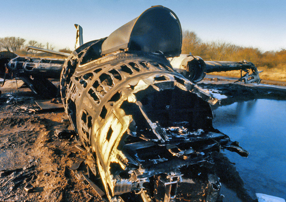 Burnt out RAF Canberra bomber