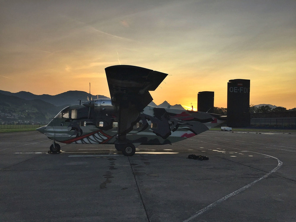 Philips Skyvan from Pink Aviation in the ramp in Buochs