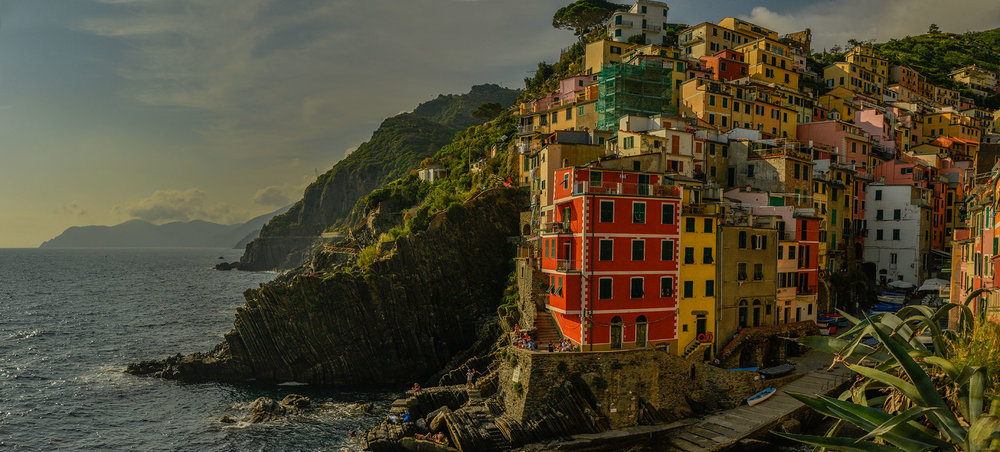 Sunset panorama of Riomaggiore