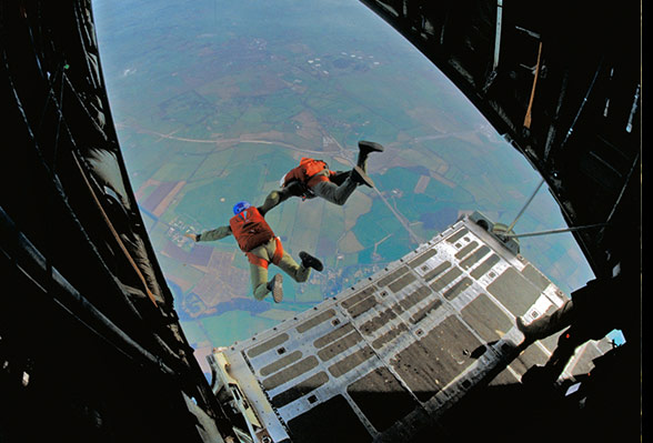 Two PJI instructors doing a HALO jump from a C130