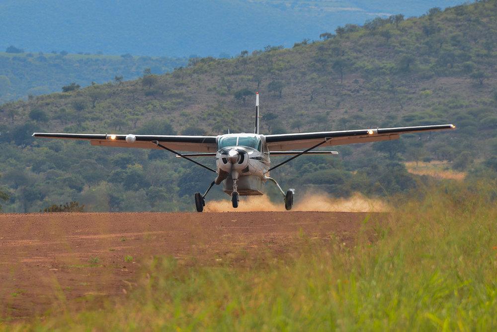 A Cavan landing at Manyara airstrip in Tanzania