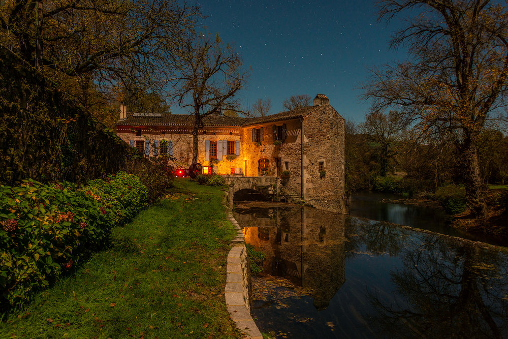 40 second exposure of Moulin Cajarc under a full moon