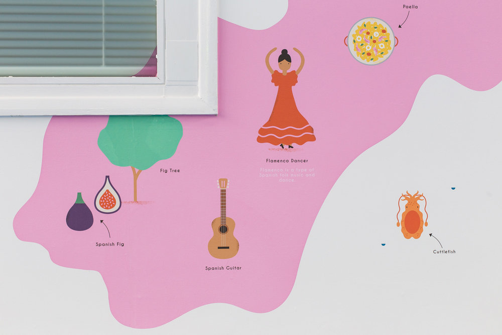 hannahalice-illustration-spacedesign-world-map-grazebrookprimaryschool-mural-spain-flamenco-dancer-fig-wallpaper.jpg