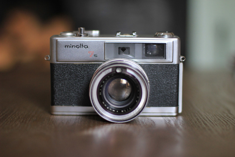 Minolta 7S camera, bought with a 'mystery film' inside.
