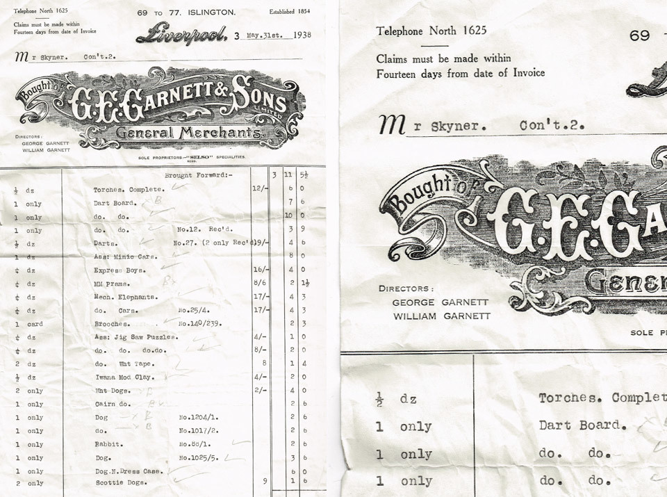 Invoice from G.E. Garnett & Sons Limited General Merchant, of Liverpool, 1938.   I love the illustrated logo.