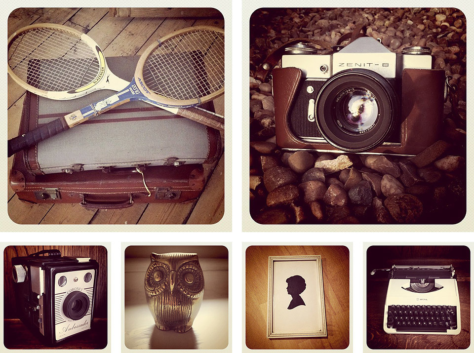 instagram documentation: suitcases (x2), tennis rackets (x2), Zenit B camera, Coronet Ambassador camera, brass owl ornament, paper cut framed picture and white Imperial typewriter