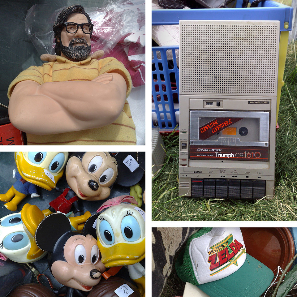 I was just looking through some really old photographs from my Nokia N95 (before my iPhone days) - and found some 'TIDBATCBS's*   Jim Royle from The Royale Family figure, some Disney characters, a Computer Compatible tape cassette player and a 'Legend of Zelda' trucker cap (which I secret wish I had bought in hindsight).    *Things I Didn't Buy At The Car Boot Sale