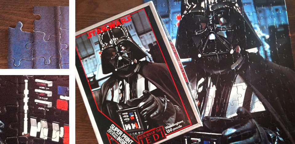 Return of the Jedi - Darth Vader jigsaw puzzle, with one piece missing.