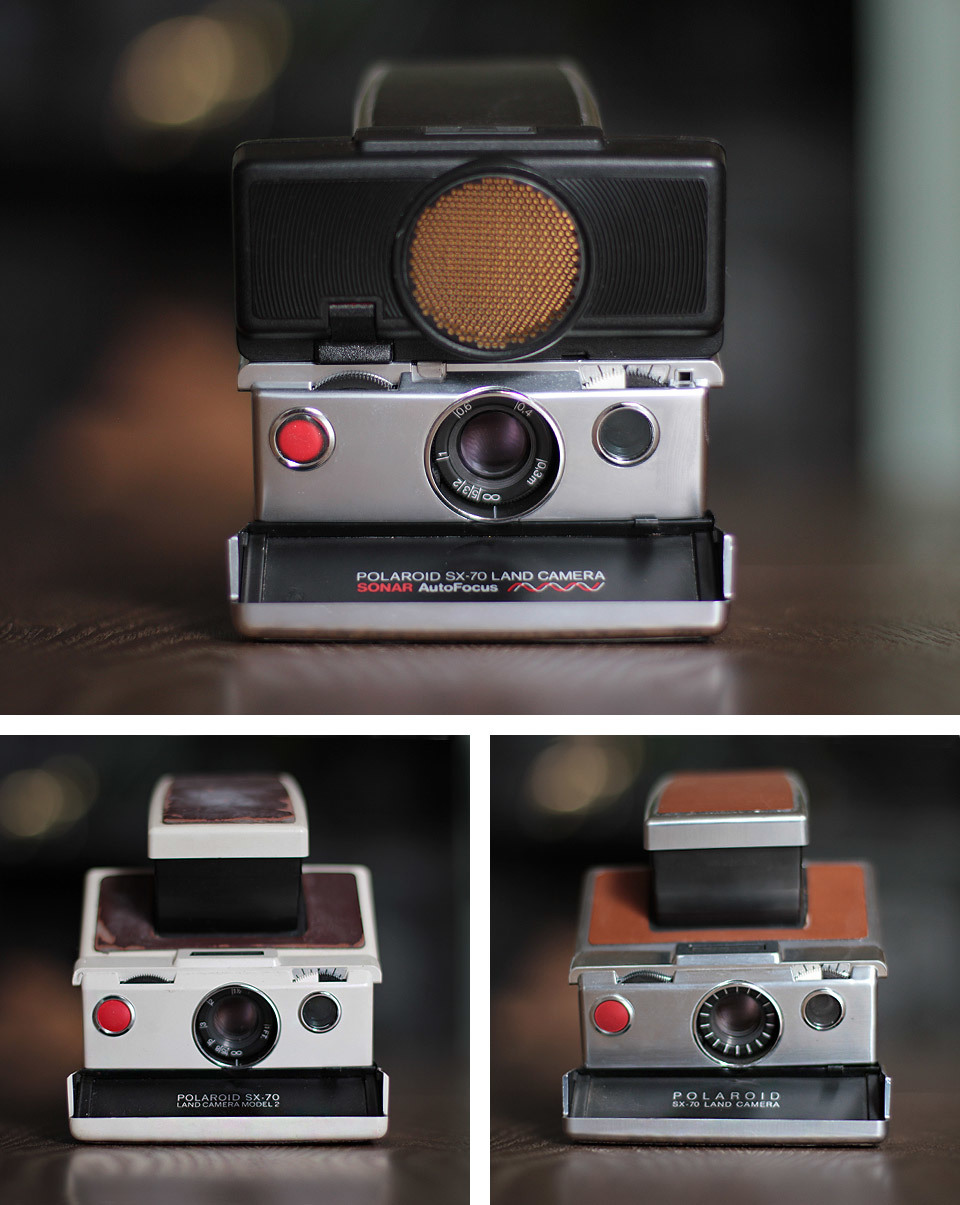 One of the most iconic cameras is the Polaroid SX-70. I have only ever been lucky enough to find one in a car boot sale - the Polaroid SX-70 Sonar Autofocus (top). The other 2 models that I own, the Tan and White versions have been purchased from eBay, and are both display cameras only.