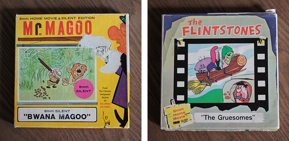 "8mm movie films. Mr Magoo in ""Bwana Magoo"" and The Flintstones in ""The Gruesomes""."