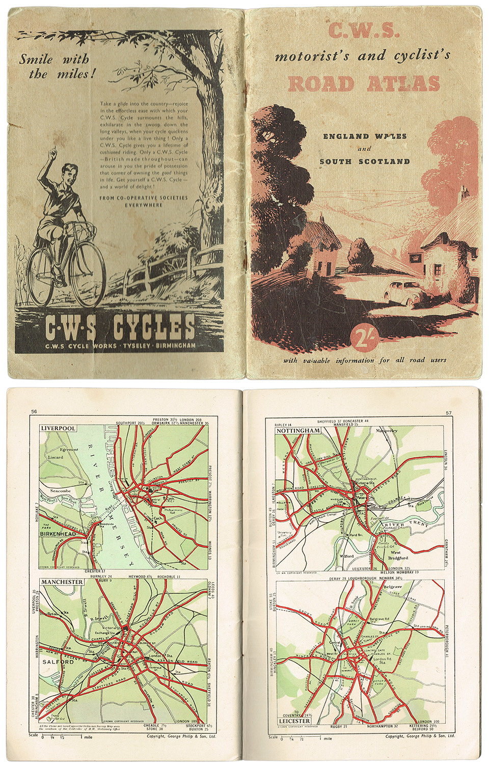 C.W.S Motorist's and Cyclist's Road Atlas, Englad, Wales and South Scotland. Circa 1950.