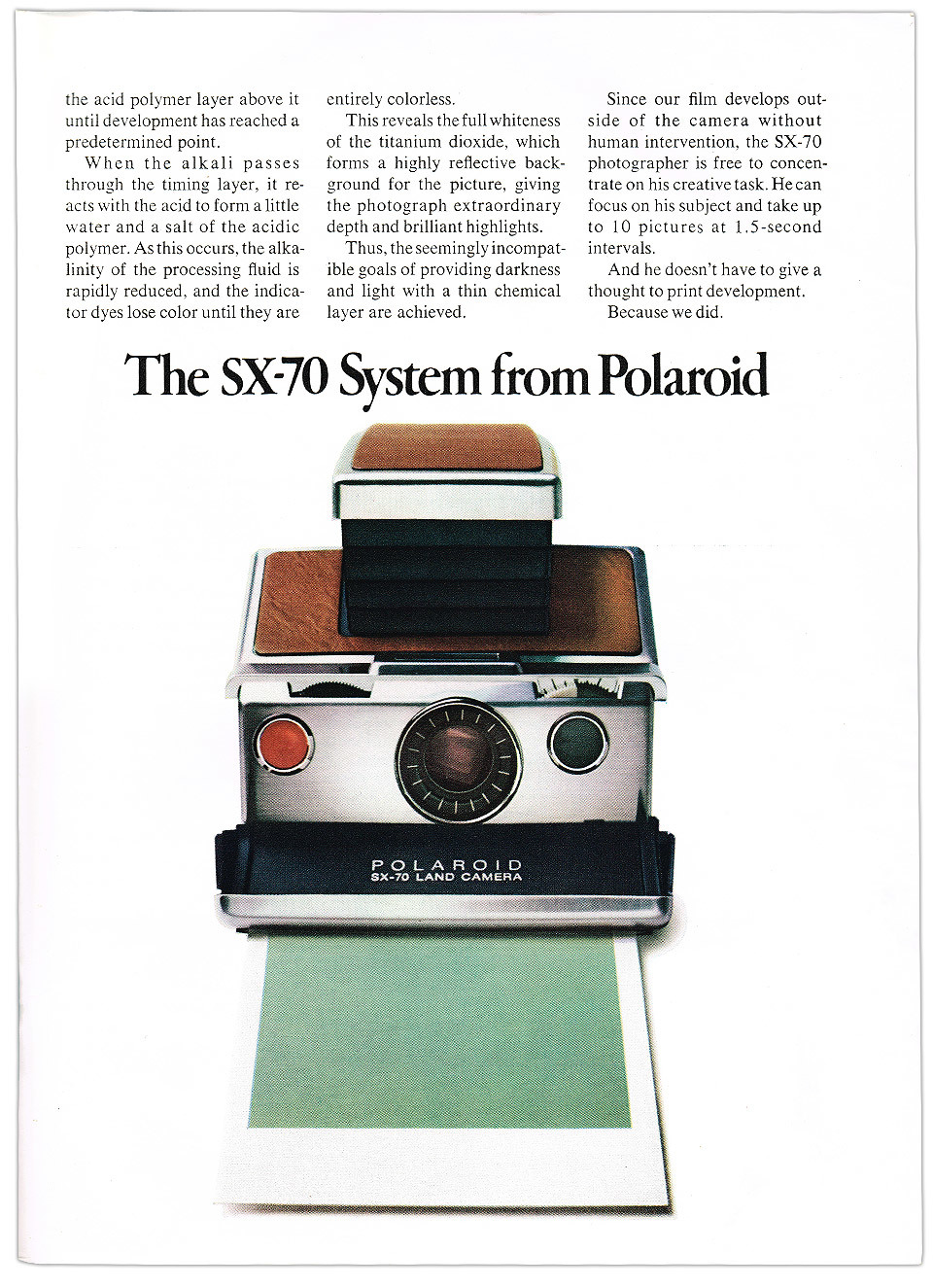 Polaroid SX-70 advert fromScientific American magazine.