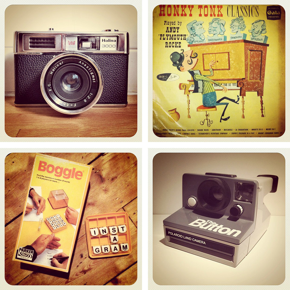 Instagram randoms: Halina 3000 camera, Honky Tonk Classics LP, Boggle and Polaroid 'The Button' camera.