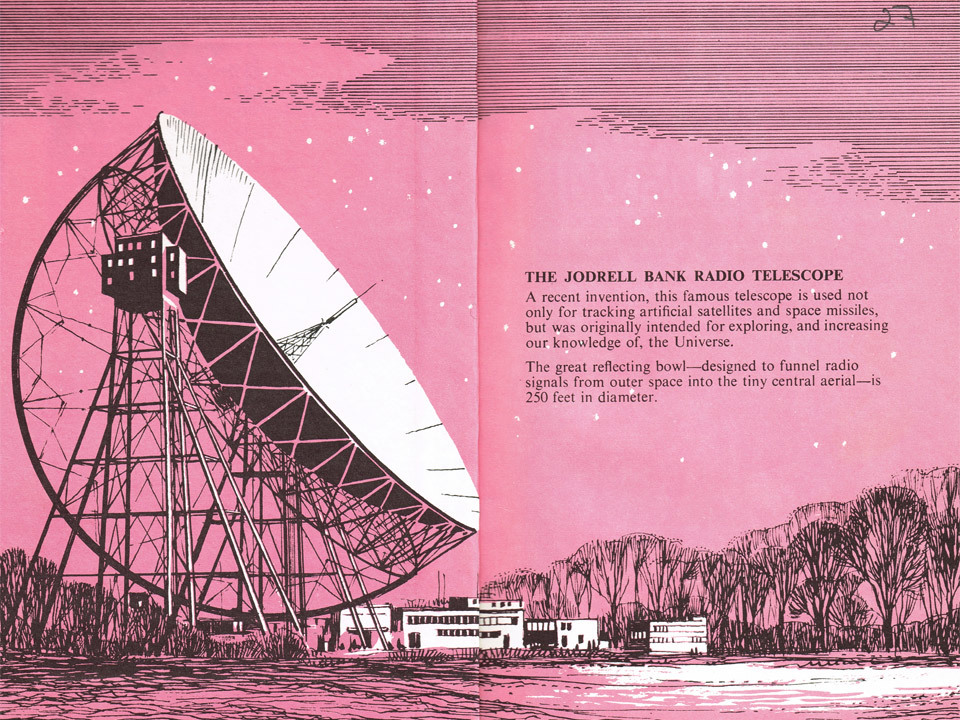 I bought the 'Great Inventions' Ladybird book from a charity shop a few days ago, because the inside spread was such a lovely illustration of Jodrell Bank radio telescope, which is based about 5 miles from my house. It's such a wonderful addition to the landscape and a truly great scientific achievement.