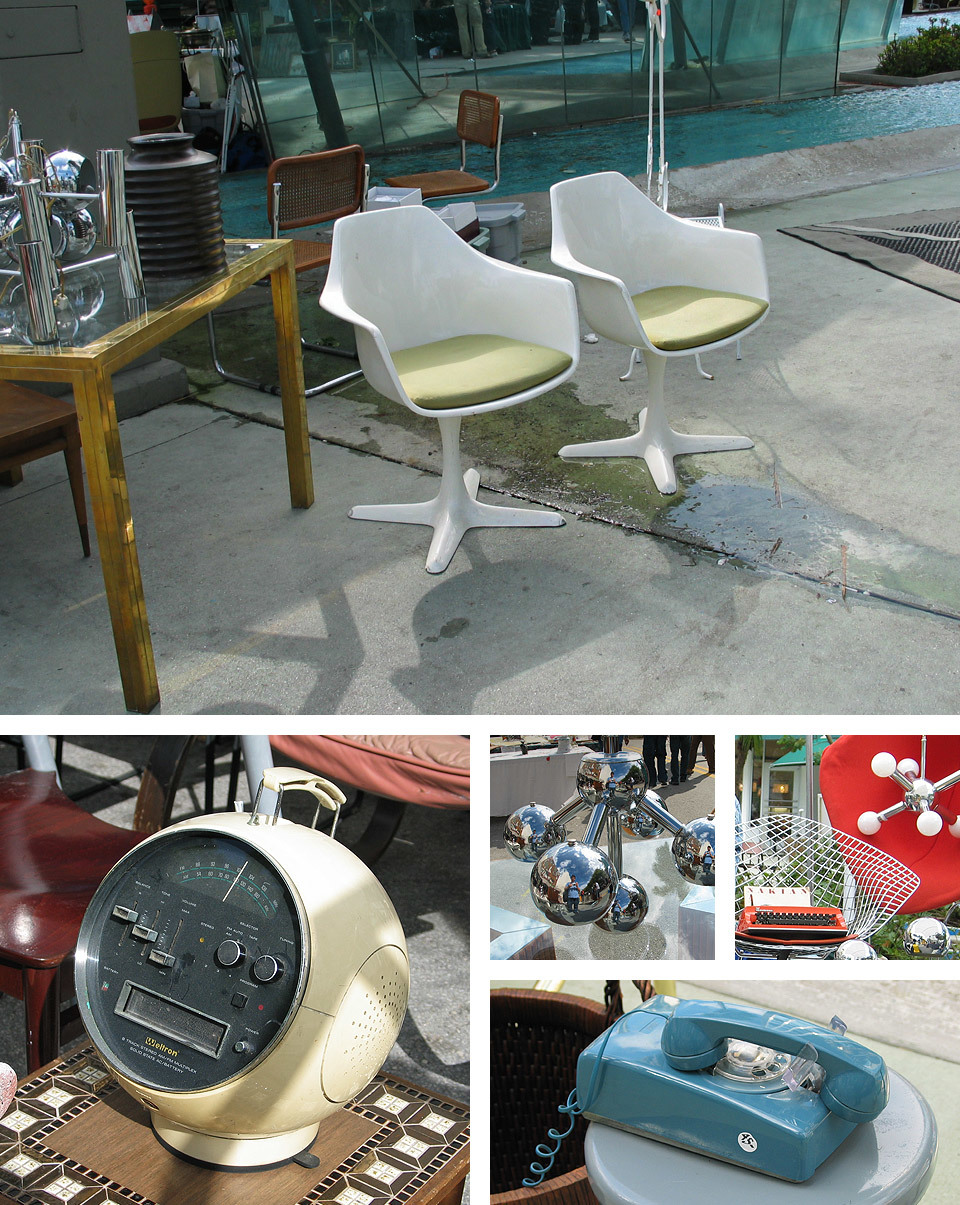 I was just going through some old images and I chanced upon these, from a trip to Miami back in 2004! I stumbled across a vintage market on one of the streets, with some great objects for sale - including a Weltron 8-track player and possibly Eames chairs.