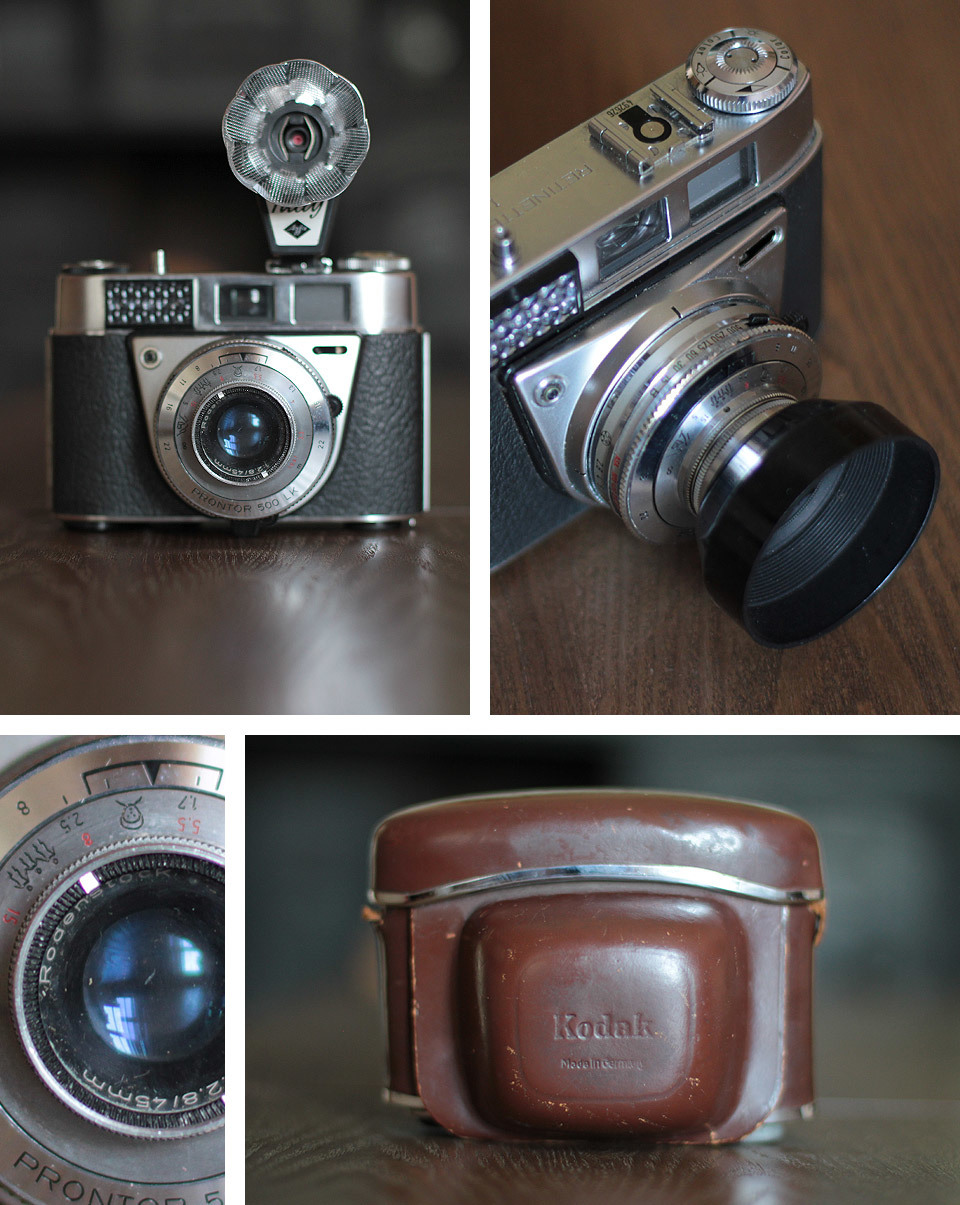 I picked up another Kodak Retinette 1B at the car boot sale a few weeks ago, it came with the original leather case, lens hood and a Tully flash.