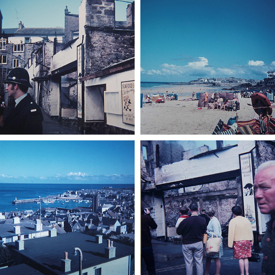 Slides from the car boot sale. These were all from the same box of slides and it looks like a family holiday to Cornwall or Devon in the UK, with some CSI photos of a burnt out shop.