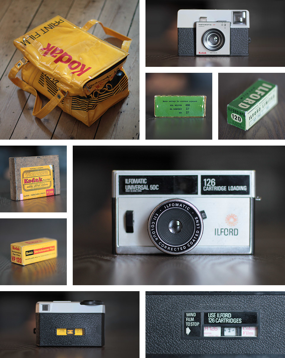I recently sent a package over to Chris and Grace Hughes, of ' A Nerd's World ' in Toronto, Canada. They have a phenomenal camera collection, they are currently trying to break the world record for the most unexposed camera film, they have a photography and graphic design studio, they collect and develop exposed camera film (from their antique camera finds) - basically, they are my photography heroes!   If I didn't have plans to mover to Australia, then I think I would be heading over to Toronto to be a 'nerd'. Grace had always commented on the Kodak cool bag (shaped like a 35mm film box) - so I thought I would 'pay it forward' and send them a package containing all the things they would enjoy.   The package contained: The Kodak cool bag, Kodak Plates (boxed and sealed), Kodak Verichrome Pan 120 film (expired July 1963), Kodak Instamatic 25 camera with undeveloped film inside, Ilford HP3 120 film (expired Sept 1963) and an Ilford Universal 50C camera with undeveloped film inside.   I am hoping they will finish and develop the film for us all to see and maybe send something back my way to continue the surprise.   If you love 'found film', then you should really check out the ' Found ' section of their website.