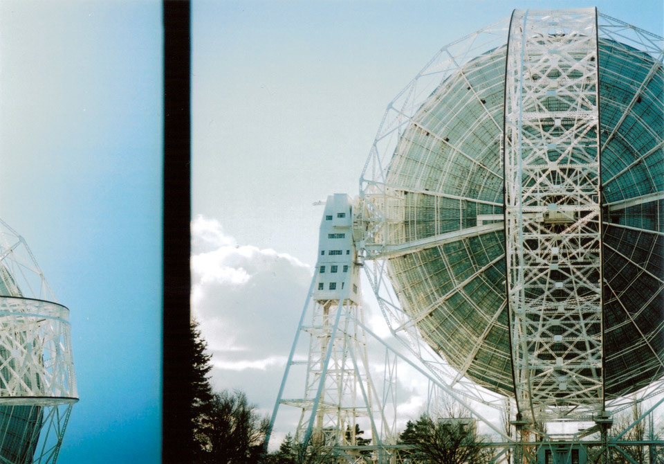 Jodrell Bank radio telescope, taken with Kodak Retinette (end of film).