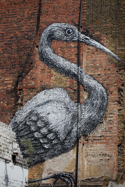 Stork by Roa - Hanbury Street, Near Brick Lane in London.