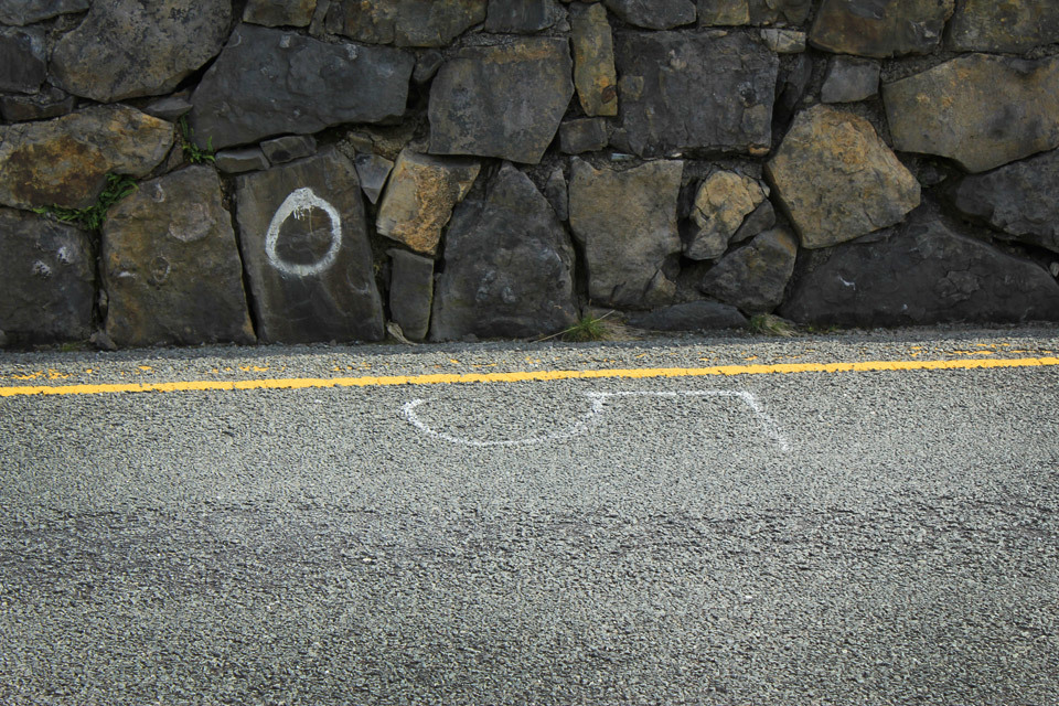 Road markings near Nant Gwynant, Gwynedd, North Wales.