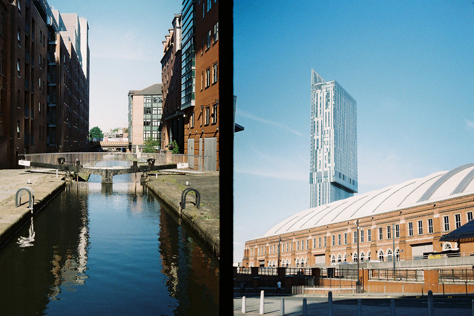 Manchester canal and Beetham Tower, taken with my Olympus Pen EE.