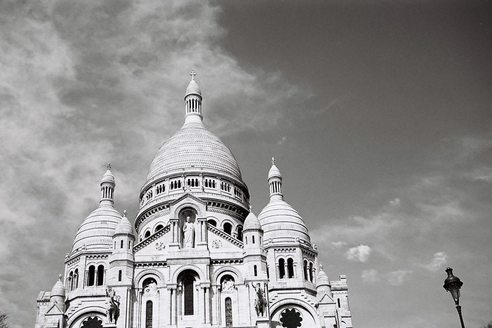 La Basilique du Sacré Coeur de Montmartre, Paris - taken with Kodak Retinette andKodak BW 400CN film.