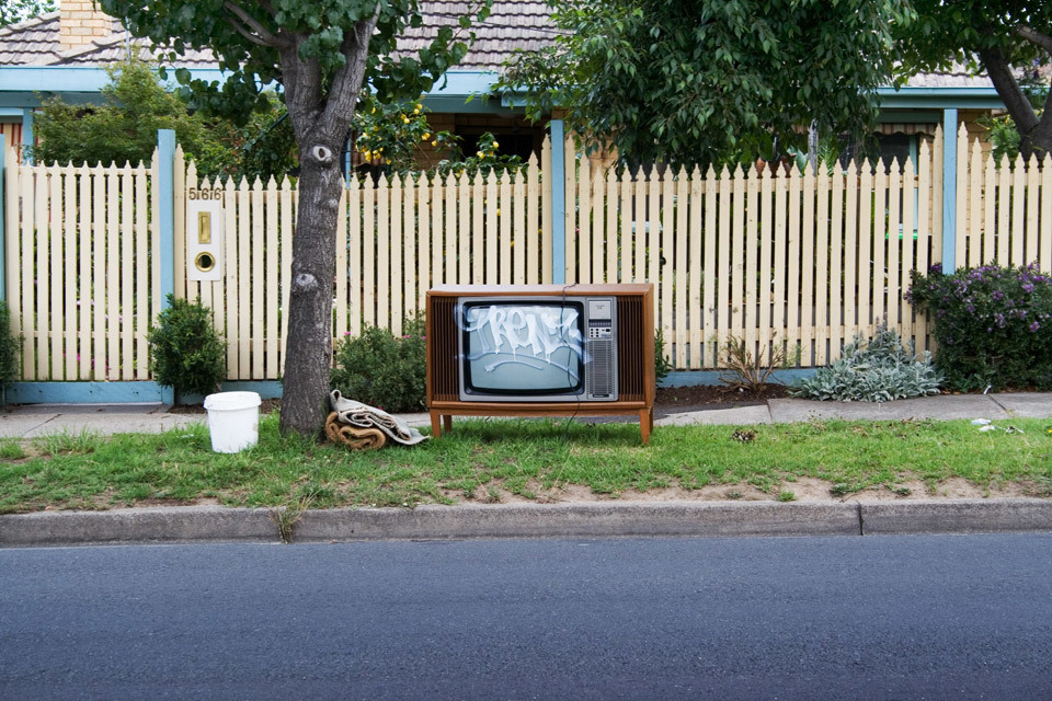 I was visiting Australia a few years ago with my wife (who grew up in Melbourne), while we were driving along the road, I spotted this old style television set at the side of the road. I had to pull up and get a photograph of it, as I love these type of 'accidental' still life.