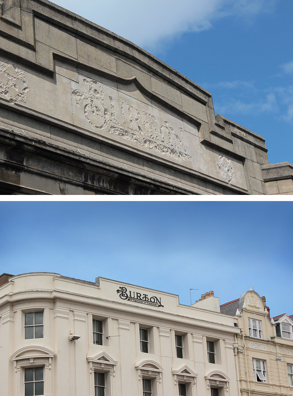 I was looking back through some old photographs and I spotted two that were linked together. The bottom photograph was taken in Llandudno and the photograph at the top was taken in Chester. The one from Chester has been removed from the building, but you can still clearly see that it read 'Burton'. The full sign reads 'Montague Burton Tailor of Taste', which is the origins of todays 'Burton' clothing shops. Sir Montague Burton is thought to have coined the phrase 'The Full Monty'.