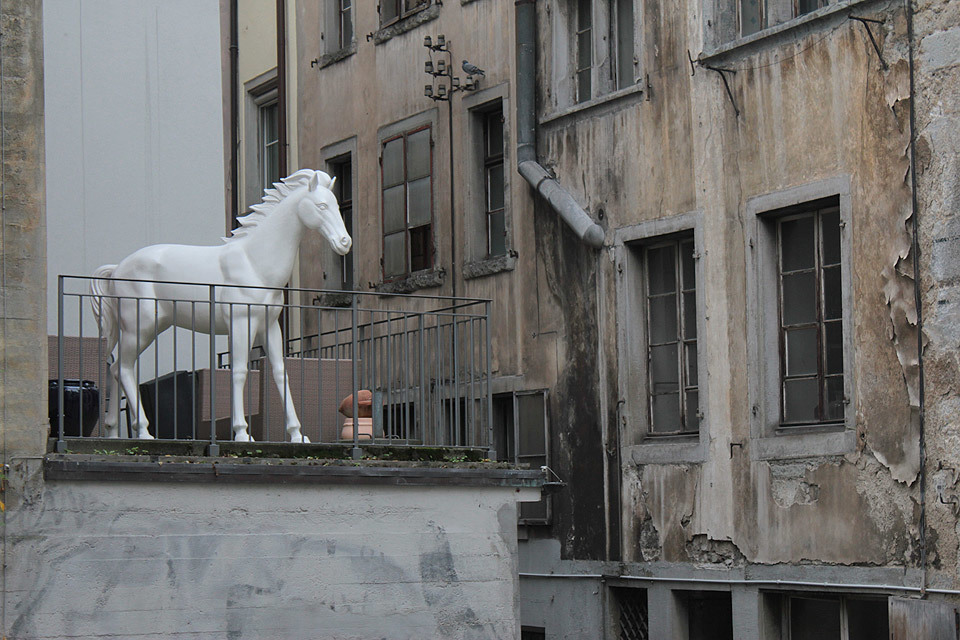 Walking down one of the back streets in Zurich, I caught a glimpse of something from an adjacent alleyway - it turned out to be a full size statue of a white horse on a balcony, overlooking a collection of bicycles.