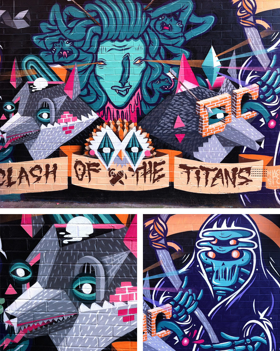 Clash of the Titans graffiti in Manchester's Northern Quarter. More information on the Common website.