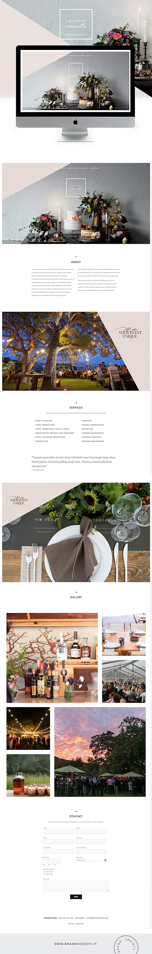 CHICKERY EVENTS    SERVICES  || SQUARESPACE WEBSITE | PORTFOLIO DESIGN | BRANDING | COLOR PALETTE