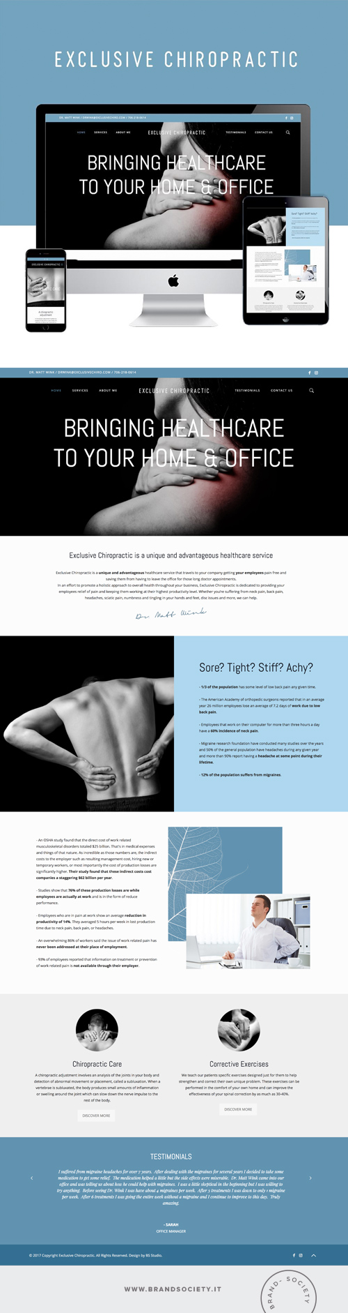 EXCLUSIVE CHIROPRACTIC    SERVICES  || WORDPRESS WEBSITE | BRANDING | PORTFOLIO DESIGN | COLOR PALETTE