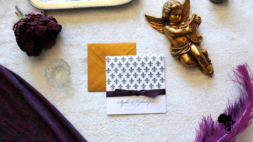 Basic Square Fold Invitation  This wedding invite folds to a 150mm X 150mm square card. The front serves as an introduction to your event and the inside contains the event or wedding information. The card is closed by a matching ribbon.   Price range : R35 - R45    *Please note that we design according to our clients specific color scheme and theme. All invite folds can be customized to best reflect your wedding day or big event.