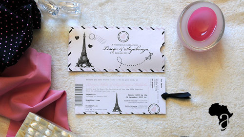 DL Pocket & Insert  This wedding invitation consists of a DL size  stitched  pocket with one insert that slides out and is printed on the front and on the back.   Price range :   R35 - R45    *Please note that we design according to our clients specific color scheme and theme. All invite folds can be customized to best reflect your wedding day or big event.