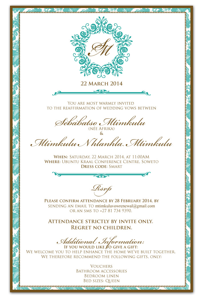 Johannesburg Wedding Invitations Africa Ido Wedding Stationery