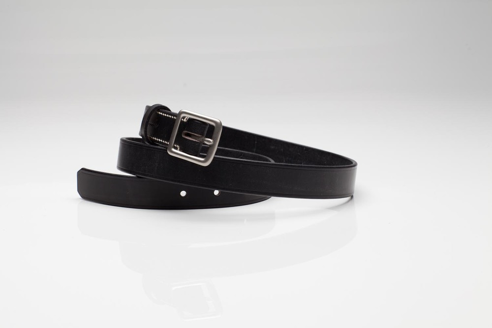 "LUNA - 1 1/4"" ENGLISH BRIDAL LEATHER / NICKEL PLATED SOLID BRASS BUCKLE (MATTE) - EBONY   SUGG  ESTED RETAIL: $195"