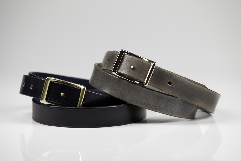"EUROPA 1"" NORWEGIAN COWHIDE (MIDNIGHT) SOLID BRASS BUCKLE : NORWEGIAN COWHIDE (STEALTH) NICKEL PLATED BRASS BUCKLE  SUGGESTED RETAIL: $195"