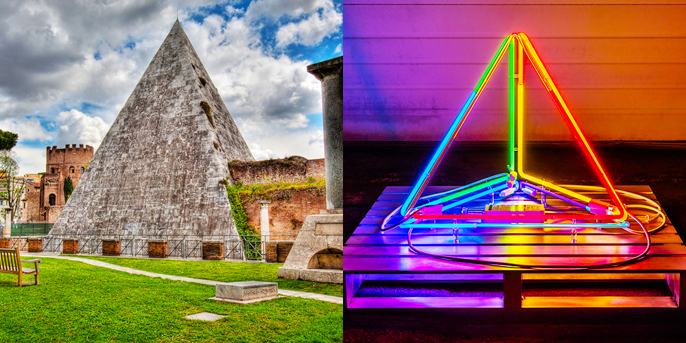 Left: Pyramid of Caius Cestius, Rome, 18–12 BCE, marble on brick-faced concrete with a travertine base, 29.6 m x 37 m | Image provided by Alinari / Art Resource, NY. Right: INTERFACE: neon, argon, glass, nickel, acrylic, GTO, two transformers, aluminum, 36 in. x 36 in. x 30 in. | Dylan Neuwirth + Image by Nathaniel Willson © 2015