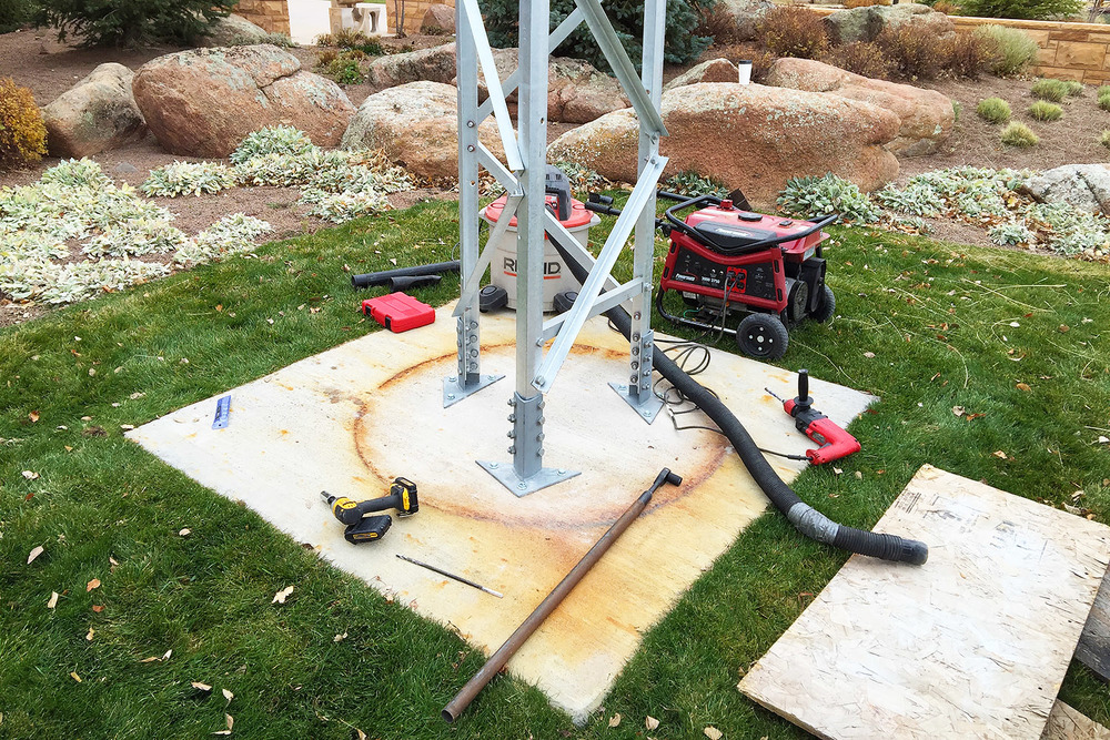 The tower up and attached to the concrete pad with anchors that ensure the completed work will remain upright and endure the harsh climate of Wyoming.