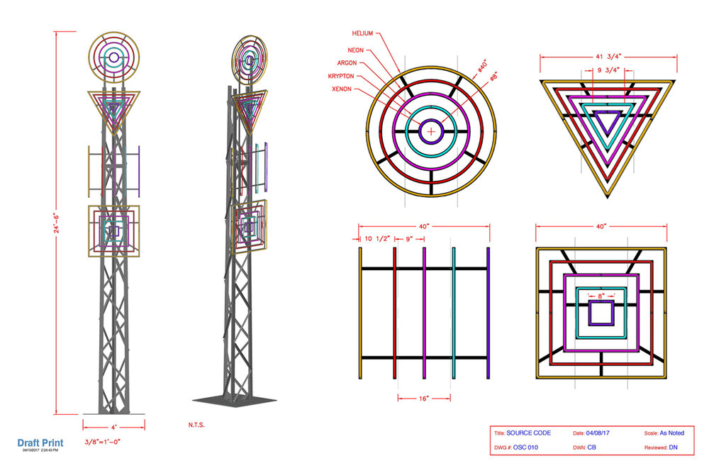 OMNIA_SOURCE-CODE.MMXVII : schematic for a sculpture made from aluminum, glass, nickel, silicon, helium, neon, argon, krypton, xenon, and transformers —with Chris Blanchard and Lars Borgeson.
