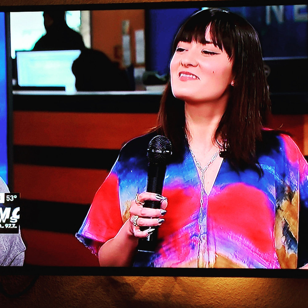 My beautiful wife appearing on local news talking about sustainable fashion, her art, and being a BOSS.