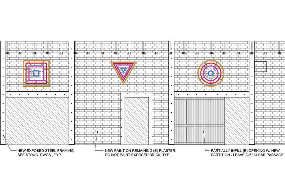 Architectural elevation showing the full, in-progress commission as it will be installed on-site.
