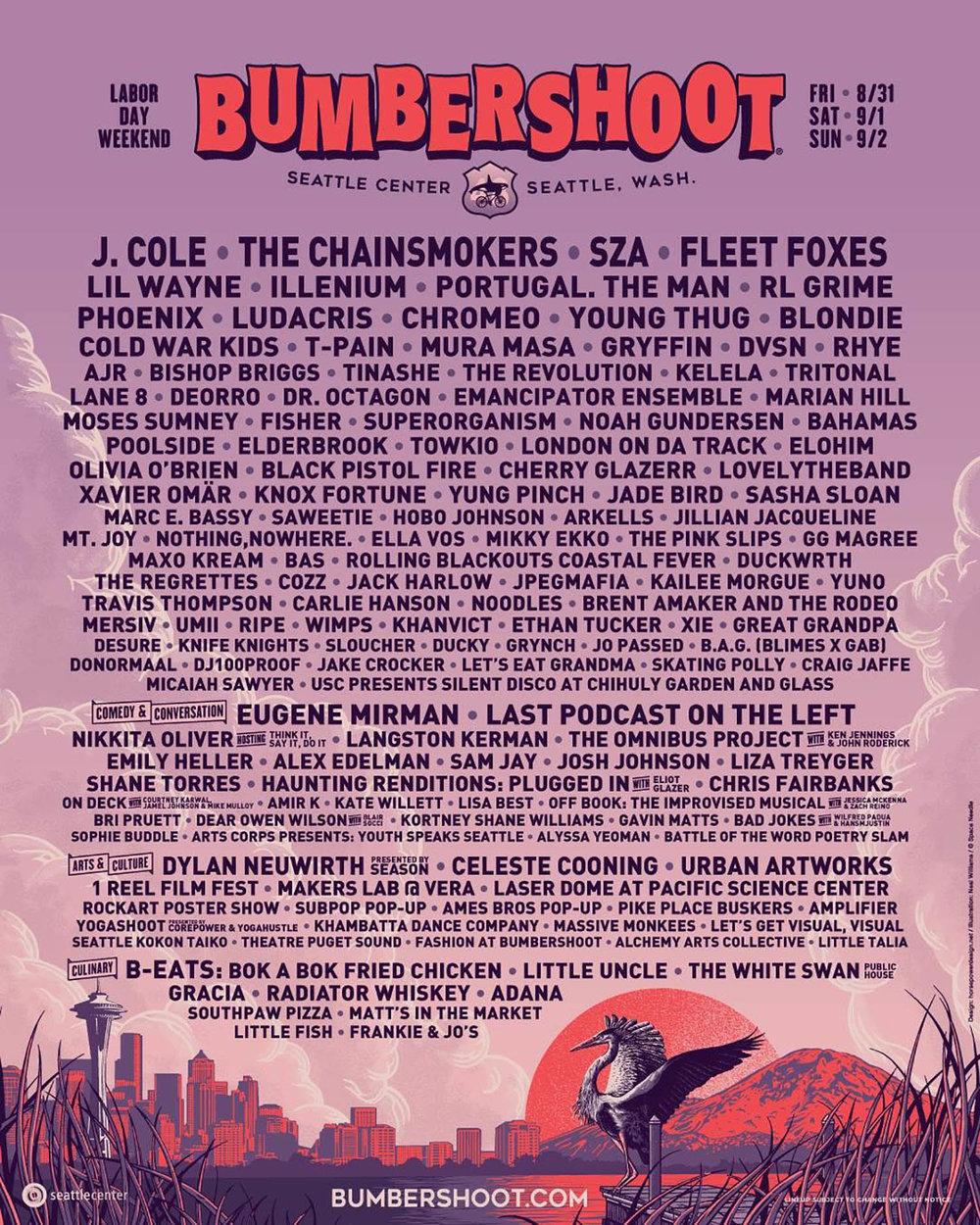 Official Bumbershoot 2018 Lineup Poster — image © 2018 Bumbershoot.