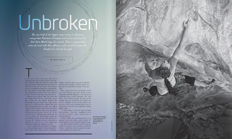 "Rock and Ice  Magazine ""Unbroken"""