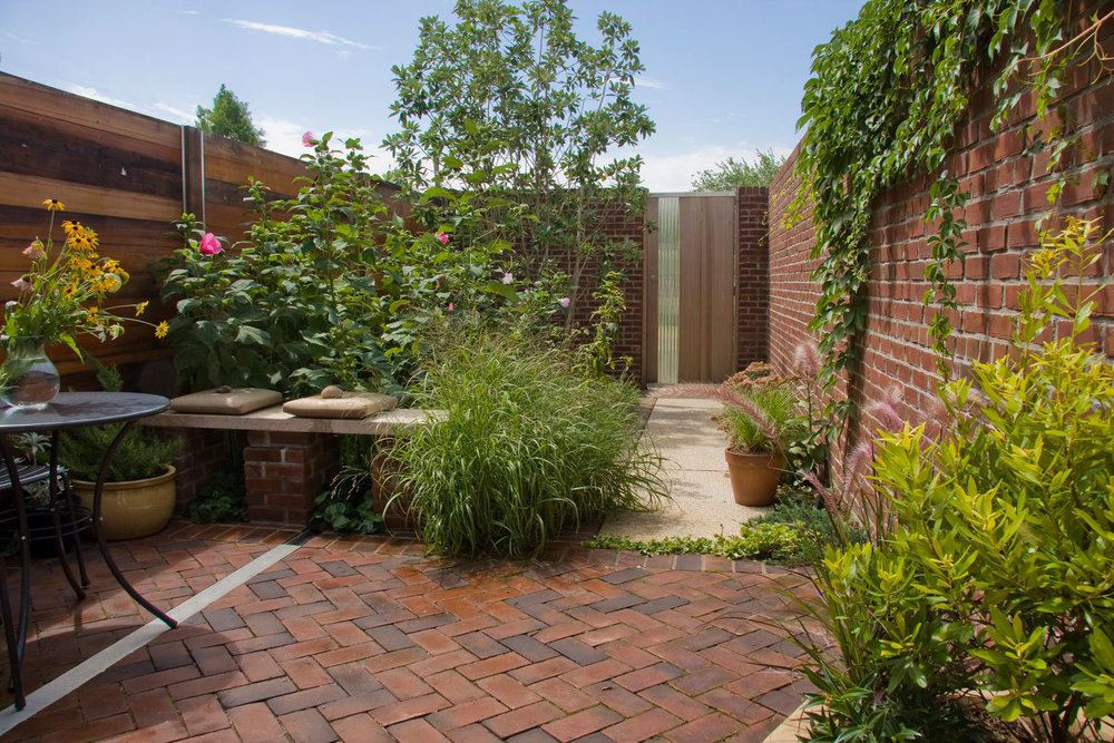 Project Location:  Washington, DC (Capitol Hill)  Completion:  Spring 2010  General Contractor:  Zen & Associates  Primary Material Palette:  golden dune granite, brick, western red cedar, aluminum, stainless steel, polycarbonate tubes, cast concrete (fountain and planter)  Photo By:  Photo by George Brown